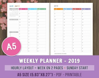 A5 Weekly Planner 2019 Printable Planner A5 Planner Inserts Etsy