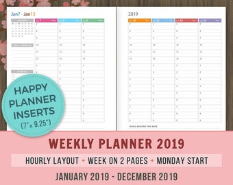 Big Happy Planner Inserts Weekly Hourly Planner 2019 Inserts Etsy