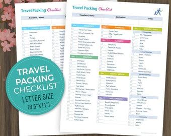 Travel Planner Checklist, Vacation Organizer, Holiday Packing Checklist, Printable Travel List, Travel Organizer, Letter Size, 8.5x11