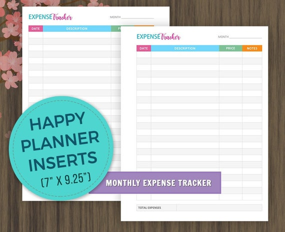 happy planner inserts monthly expense tracker planner etsy