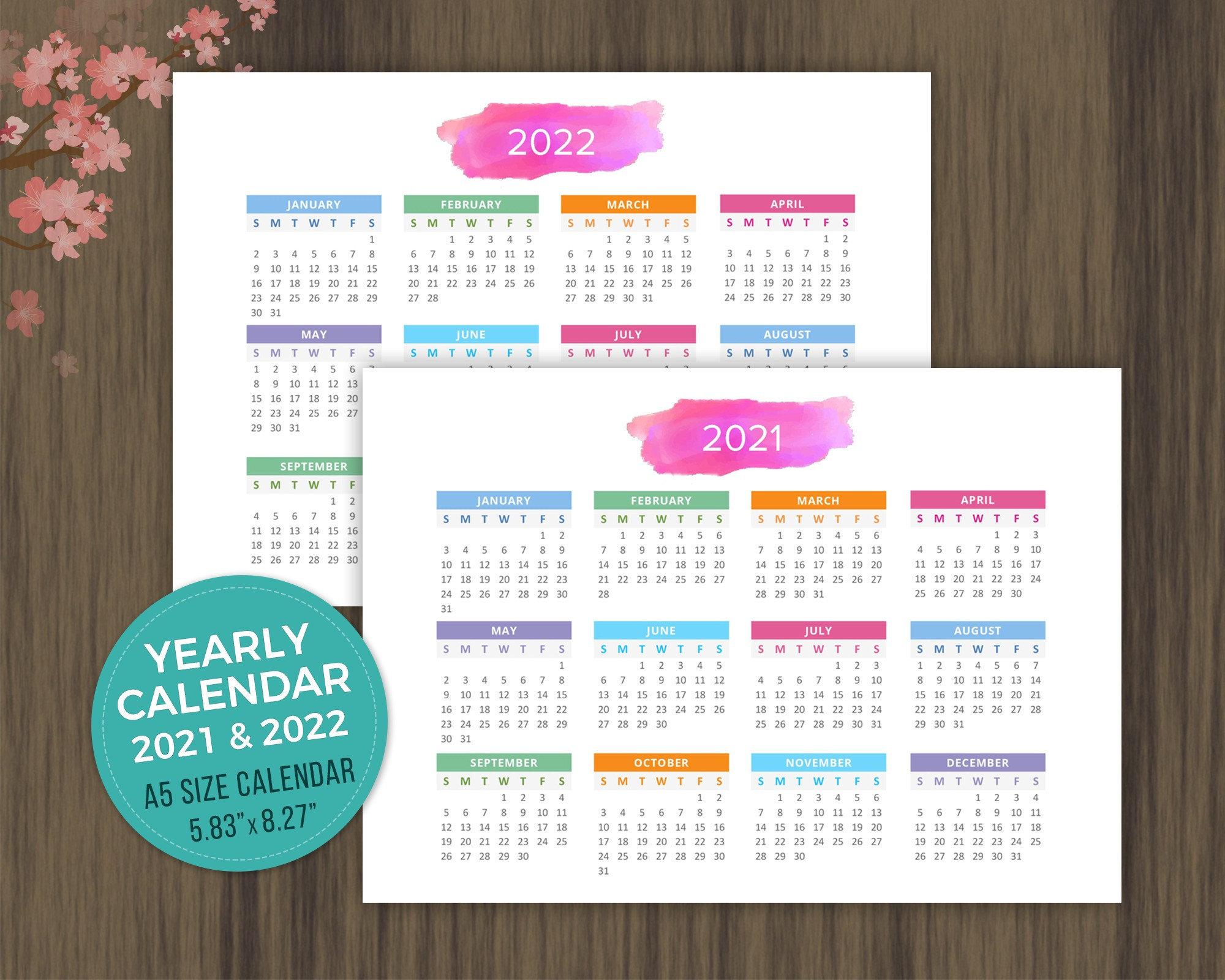 A5 Printable Calendar 2021 2022 Desktop Calendar Landscape Etsy