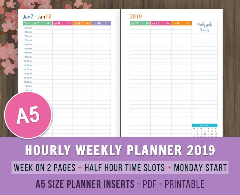 2019 Hourly Weekly Planner A5 Planner Inserts Week On 2 Etsy
