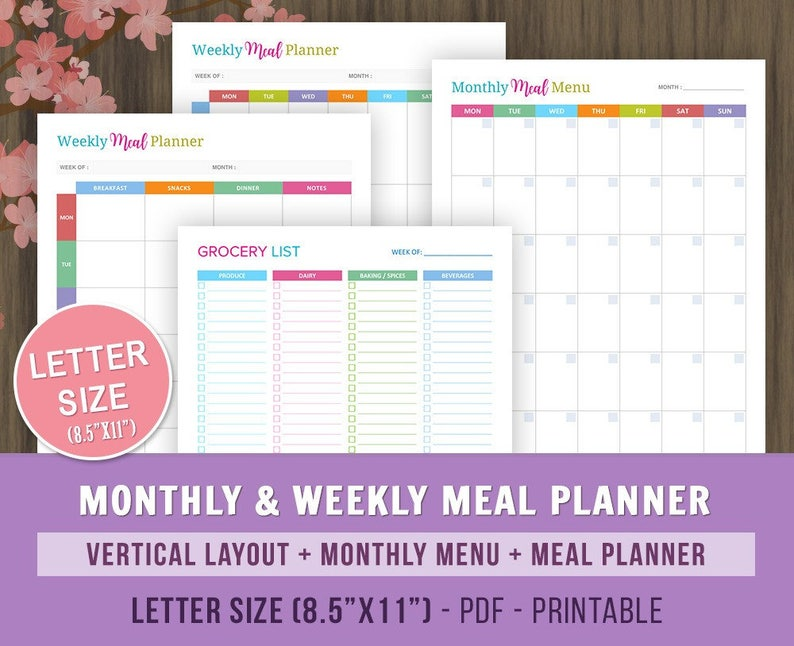 photograph about Printable Monthly Meal Planner titled Weekly Evening meal Planner Printable, Month-to-month Dinner Menu, Dinner Developing Calendar, Grocery Checklist, Menu Planner, Menu Calendar, Weekly Dinner Calendar