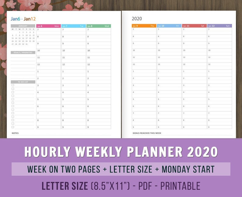 Hourly Weekly Planner 2020 Inserts Printables Weekly Agenda Etsy