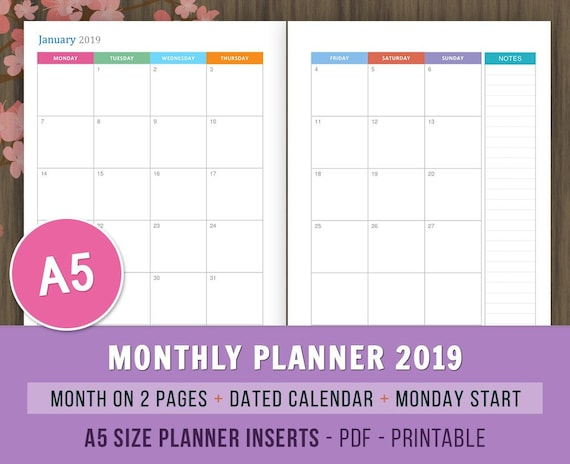 2019 monthly planner printable