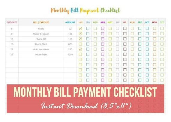 Monatliche Rechnung Zahlung Checkliste monatliche Rechnung | Etsy