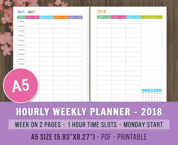 2018 weekly hourly planner inserts printable planner daily etsy