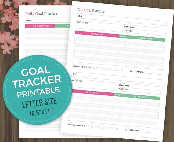 daily goal tracker printable goal planner progress tracker etsy