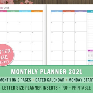 Monthly Planner 2021 Inserts Month On 2 Pages Dated Monthly Etsy
