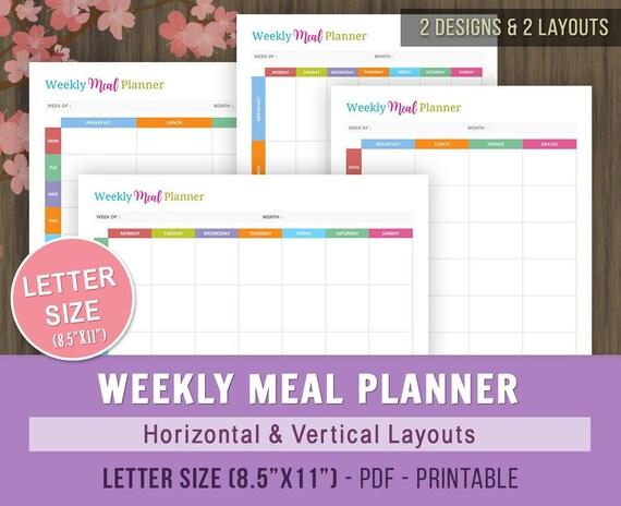 weekly meal planner printable meal planning calendar etsy