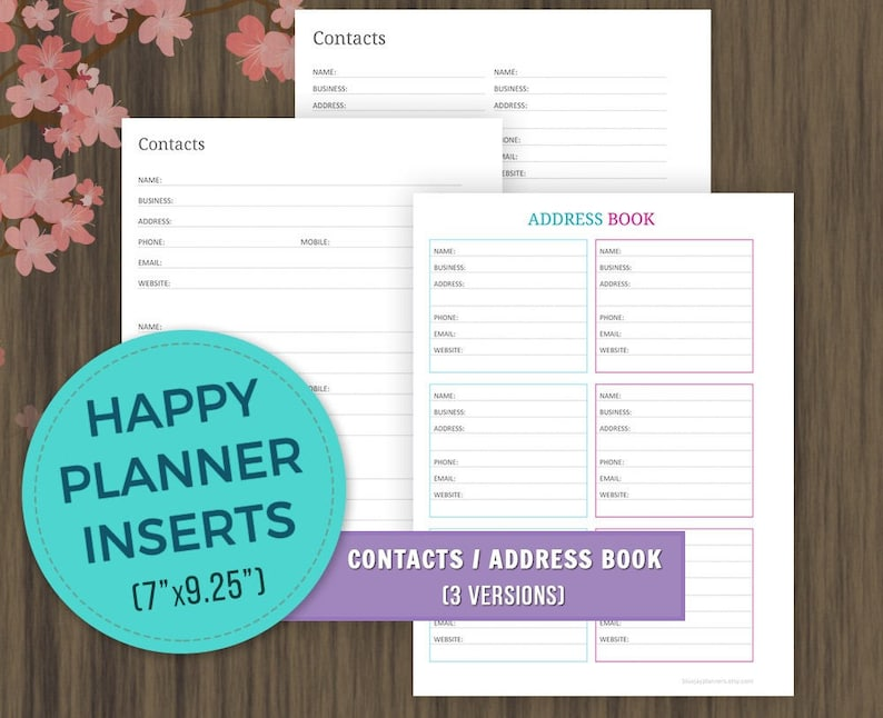 picture about Printable Address Book Pages named Satisfied Planner Inserts, Get in touch with Web page Printable, Protect Guide Webpages, MAMBI, Pleased Planner Internet pages, Clic Joyful Planner, Discbound Planner