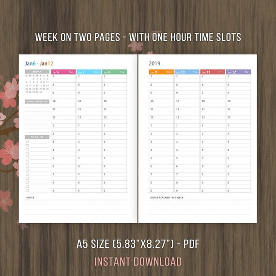 a5 planner inserts weekly hourly planner 2019 inserts etsy