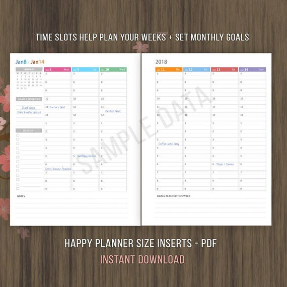 happy planner inserts weekly hourly planner 2018 inserts etsy