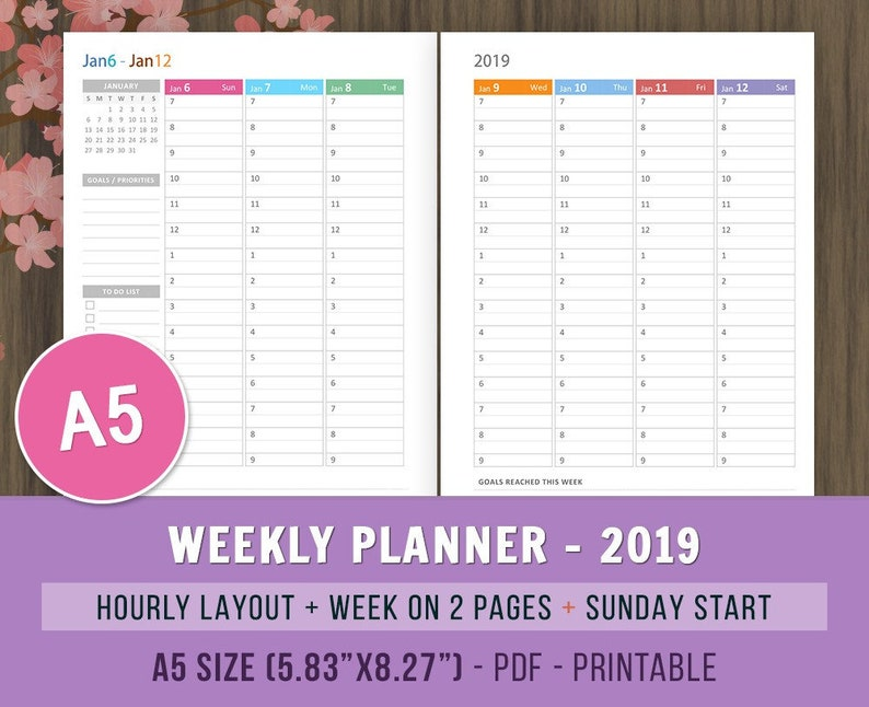 photograph about Weekly Hourly Planner Printable referred to as A5 Planner Inserts, Weekly Hourly Planner 2019 Inserts, Printable, Every day Planner 2019, Weekly Organizer, A5 Filofax Inserts, Kikki K, wo2p
