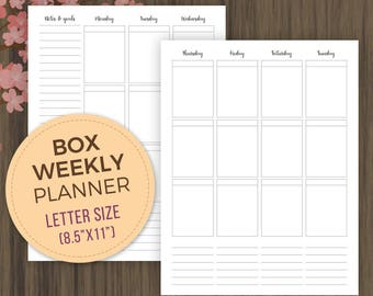 Weekly Box Planner Printable Inserts, Letter Size, Planner Inserts, Vertical Planner, Week on 2 Pages, wo2p, 8.5x11, pdf, Weekly Planner