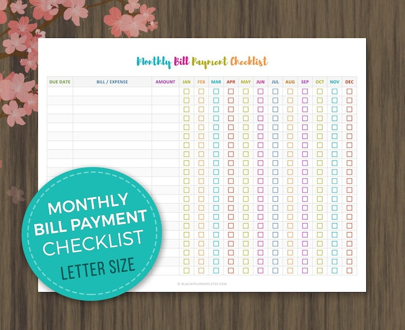 picture regarding Bill Payment Checklist Printable named Regular Monthly bill Charge List, Regular monthly Monthly bill Tracker, Monthly bill Price Listing Printable, Quick Obtain, Monthly bill Charge Tracker