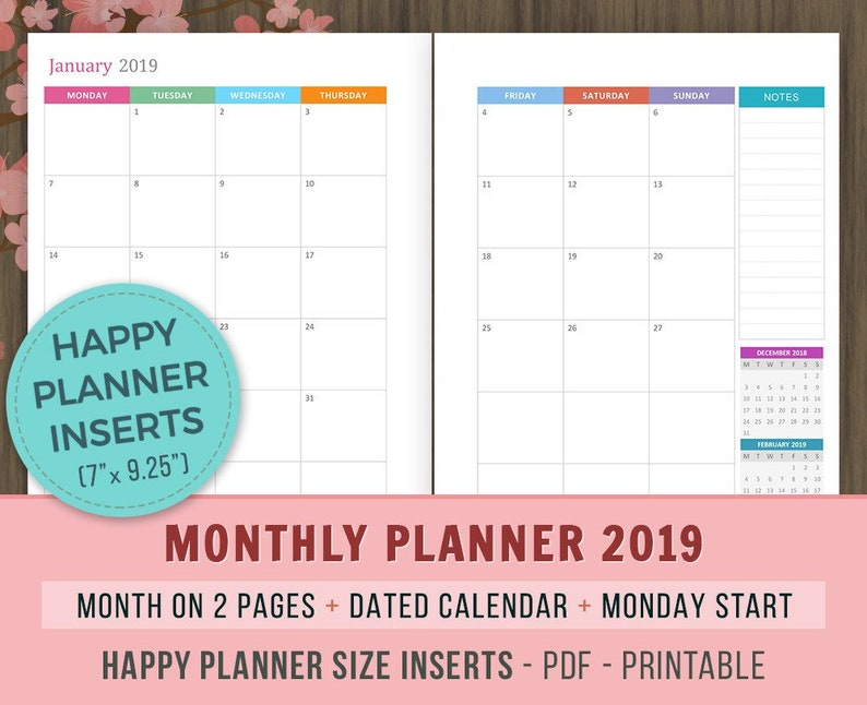 Happy Planner Inserts Monthly Planner 2019 Printable Etsy