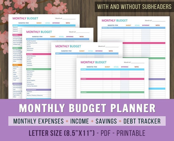 monthly budget planner monthly budget printables family etsy