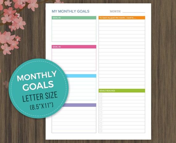 monthly goal tracker printable goal planner progress etsy