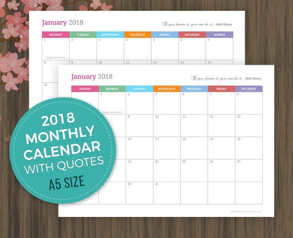 A5 Monthly Calendar 2018 Planner Printable Monthly Agenda Etsy