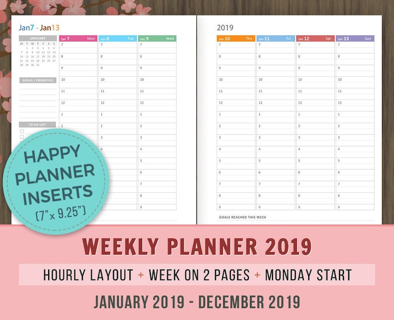 picture about Weekly Hourly Planner Printable called Joyful Planner Inserts, Weekly Hourly Planner 2019, Printable, Everyday Planner, Weekly Organizer, wo2p Refills, MAMBI Inserts, Hourly Design