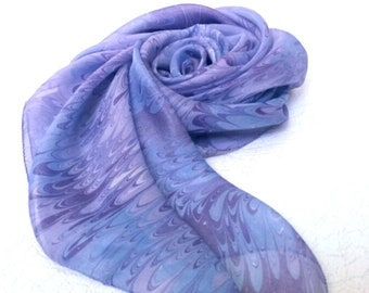 Lilac silk scarf Hand dyed marbled scarf Ultra violet Square scarf Purple summer scarf Hair scarf wife Gift for sister Marbled silk scarves