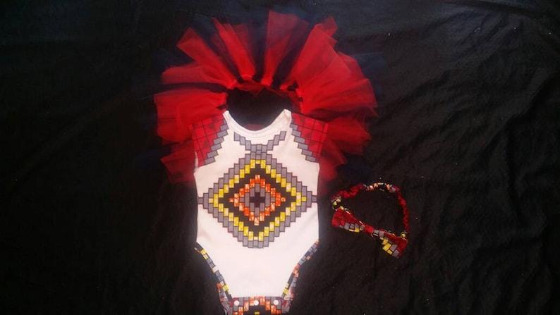 RedWhiteBlue Checkered T shirt Tutu skirt and headband.