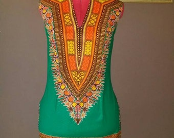 Handmade Green African dashiki print dress.