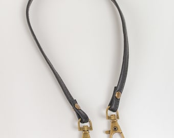 Black leather strap for keys, wallets and small bags, wallet strap, key chain strap, Face Mask Strap