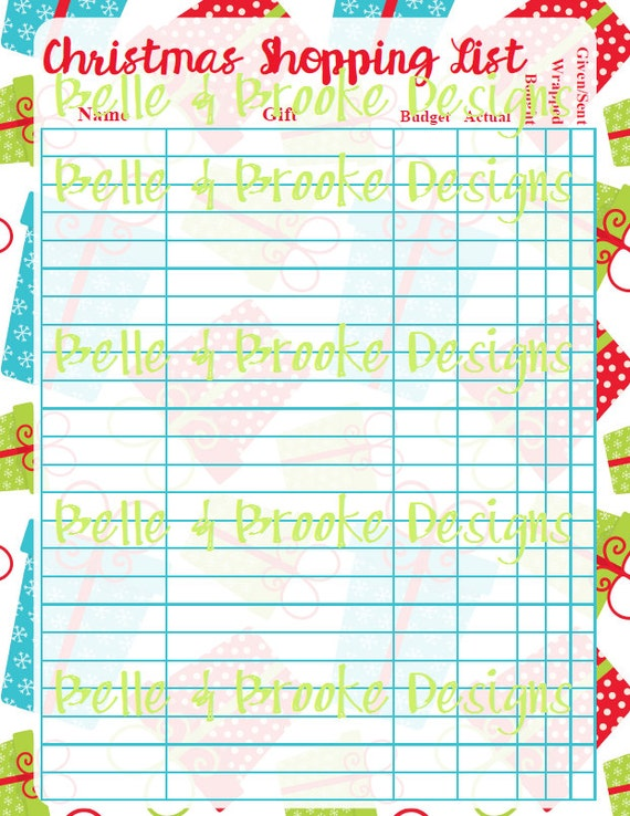 Christmas Shoppinggift List Printable Etsy