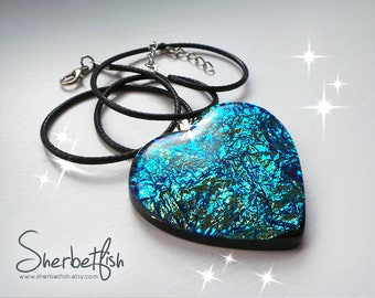 Mermaidshimmer heart necklace, blue necklace, heart necklace, dichroic glass effect, statement necklace, womens statement resin jewellery
