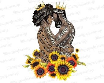 Black King And Black Queen Sunflower Png, Floral Africa America Png, Afro Couple Art Design, PNG Printable, Instant Download, Digital File.