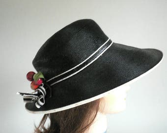 946ce9541906b Women Black Costume Hat With Bow and Fruit Trim
