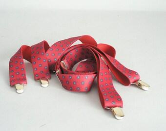 Mens  Red Figured Suspenders
