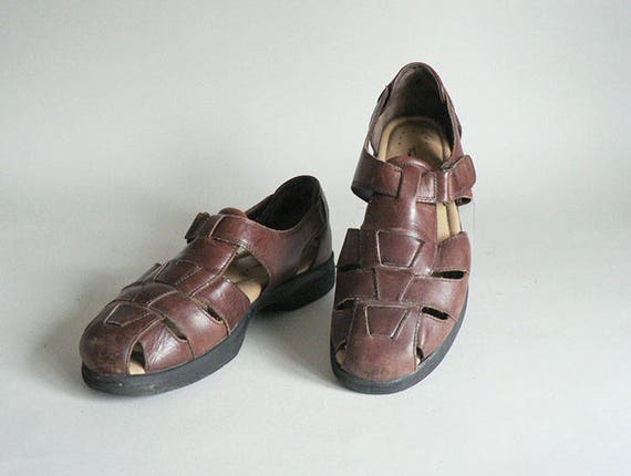 Womens 9 Huarache Woven T- Strap Sandals