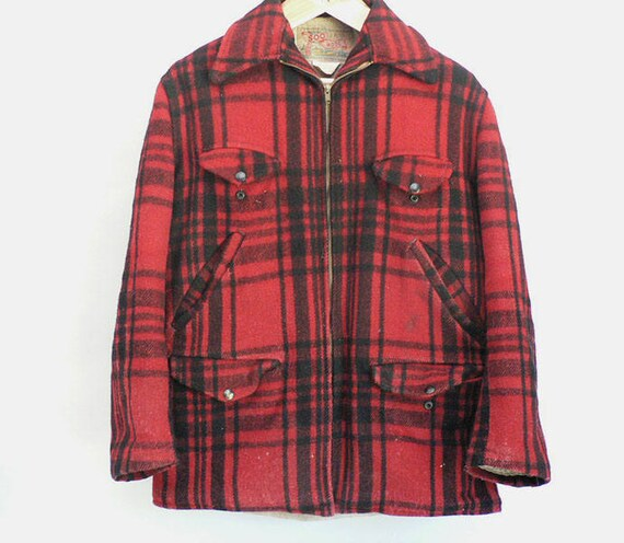 1940s Red Buffalo Plaid Wool Hunting Jacket