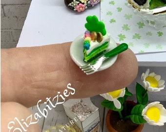 Miniature St Patrick's Green Velvet Cake Slice on Plate with Fork 1:12 scale