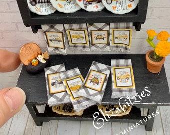 Miniature Harvest Truck Tea Towels ( 1-set of 4) 1:12 scale