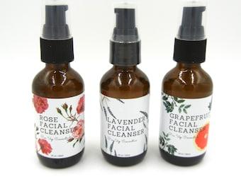 Pin Up Cosmetics Rose/Lavender/Grapefruit Facial Cleanser Trio/Vegan Skin Care