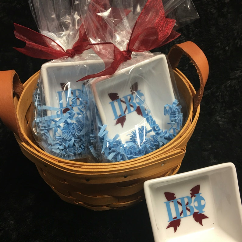 Perfect gift for the new recruit or to gift to your little or big treat yourself as well! Sorority Pi Beta Phi Ring Dish