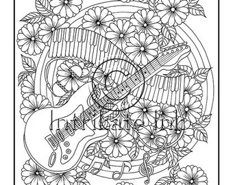 Bloom Guitar Coloring Page 7