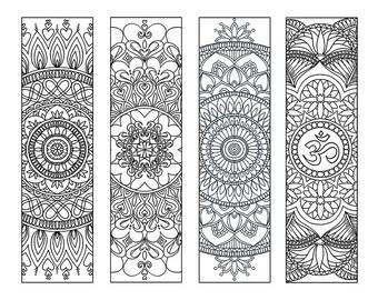 4 Mandala Colouring Bookmarks Set 2 - Instant Download, Printable, Meditation, Peace, Joy, Stress Relieving - Digital Download Only