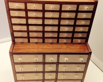 Miniature Handmade Wooden Apothecary Cabinet