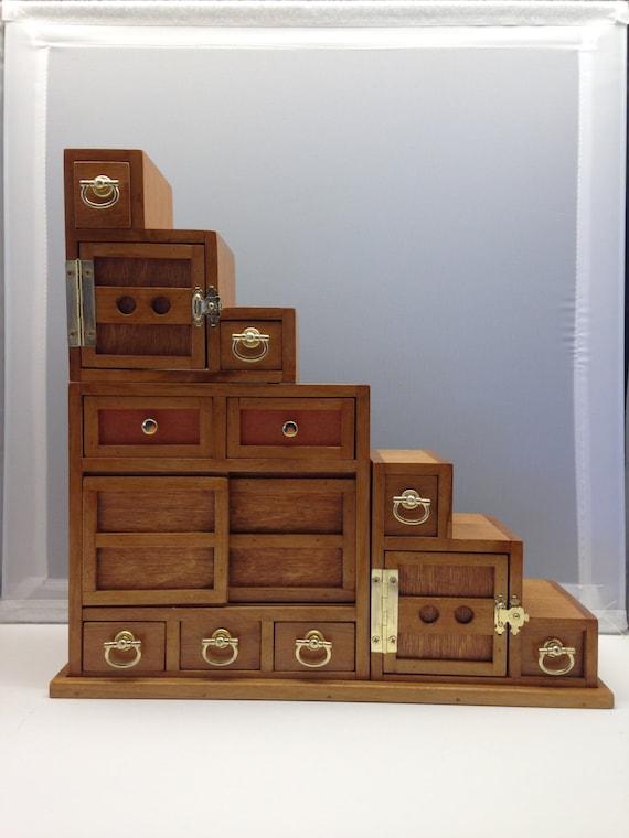 Japanese Tansu Miniature Step Cabinet | Etsy