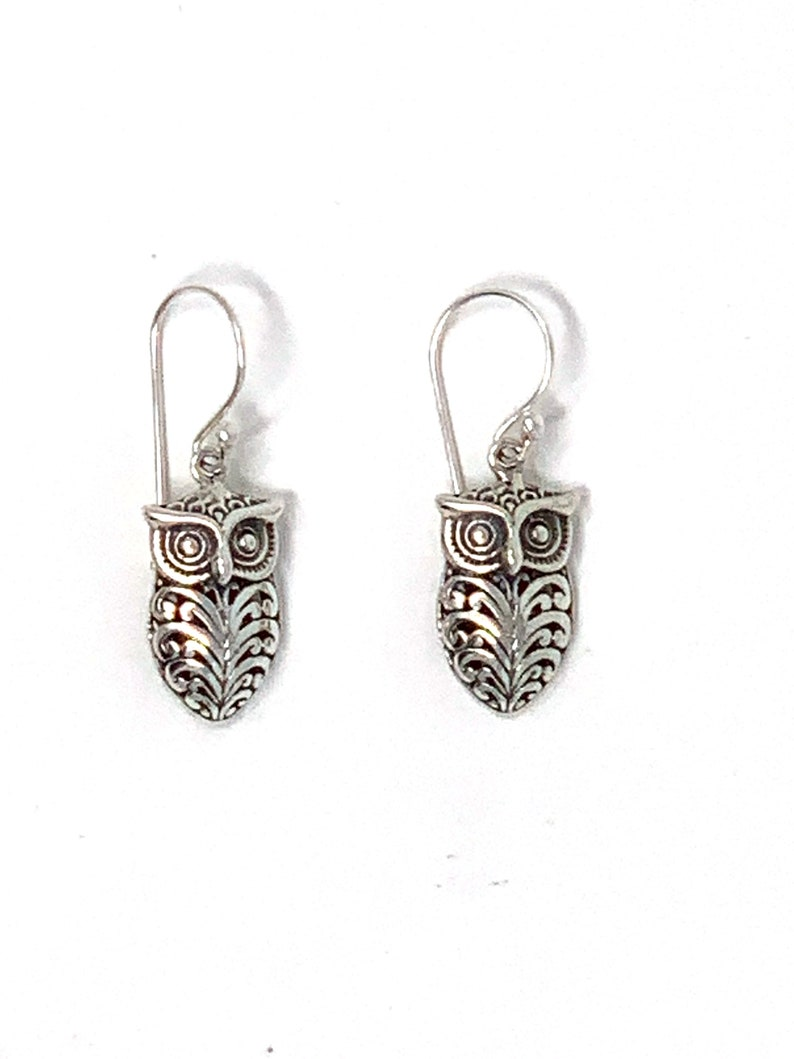 Sterling Silver Owl Dangling Earrings 1.25 Long and 0.40 Wide Weigh 4.20 Grams