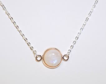 Moonstone Pendant, Moonstone Necklace, Dainty Pendant, Nature Jewelry, Rose Gold Pendant, rainbow moonstone necklace, sterling silver