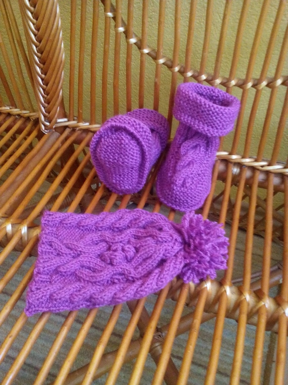 Purple Knit Baby Booties And Hat Winter Baby Girl Set Etsy