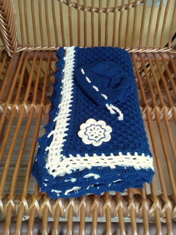 blaue baumwolle baby afghan stricken neugeborenen decke navy etsy. Black Bedroom Furniture Sets. Home Design Ideas