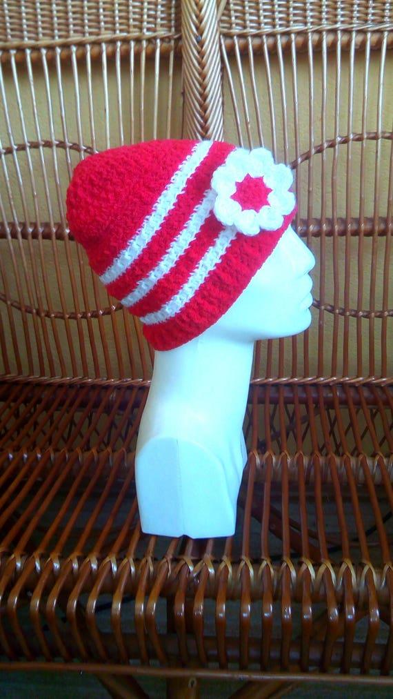 4051c4b5c35 Soft red kids hat Red white girls cap Warm crochet kid hat