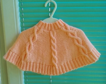 Knit baby poncho wrap, Peach baby girl cape, Peach knit infant wrap, Baby girls soft wrap, Knitted baby girls cape, Little girls knit cape